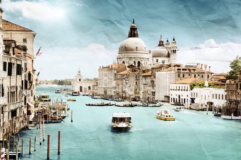 Het beeld van de Grungestijl van Groot Kanaal, Venetië royalty-vrije stock afbeeldingen