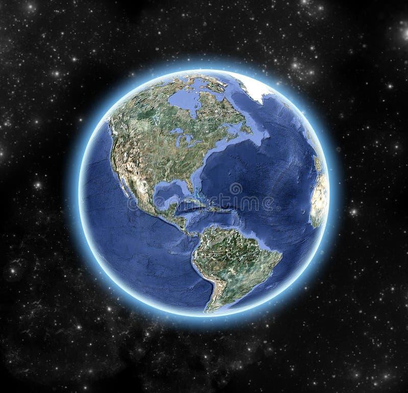 Het beeld van de wereld, van kosmische ruimte wordt bekeken die vector illustratie