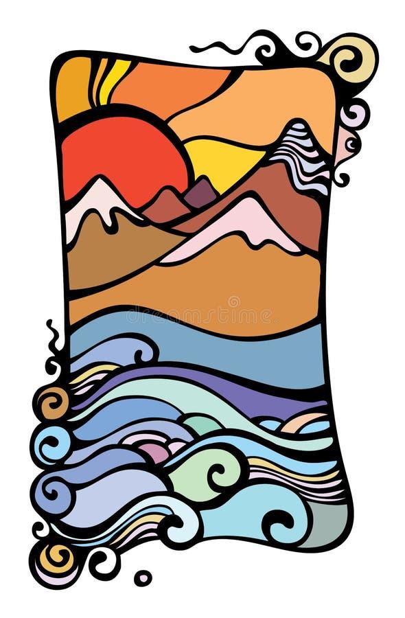 Het beeld van een daling en bergen. vector illustratie