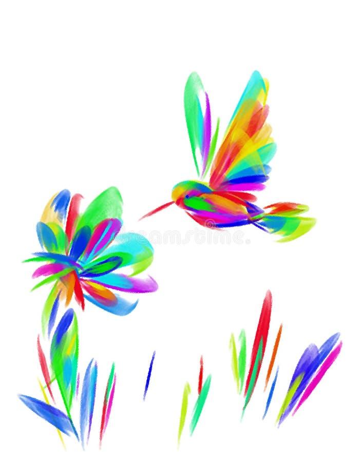 Het beeld van een heldere Kolibrie van de regenboogvogel over een bloem royalty-vrije stock fotografie