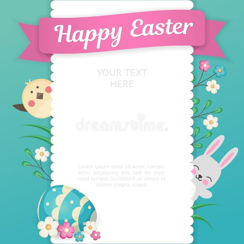Het beeld van een konijn en een kuiken kijkt uit van achter een vierkant kader met openwork randen Embleem met bloemen en royalty-vrije illustratie