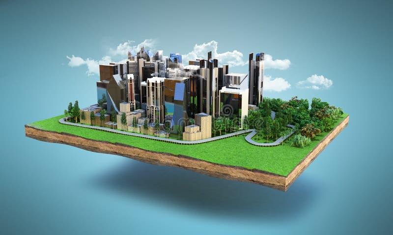 Het beeld van een moderne stad omringde van nature 3d landschap teruggeeft vector illustratie