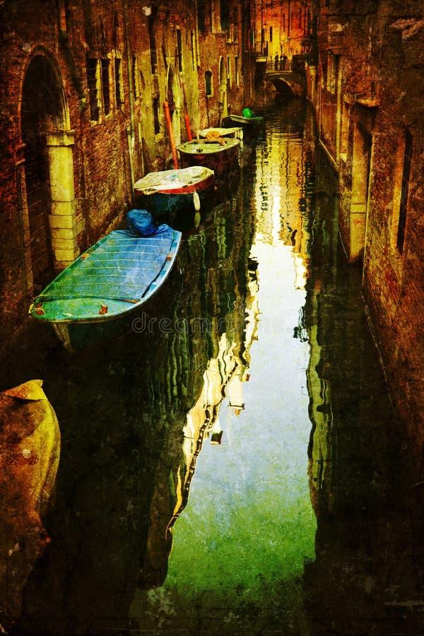 Het geweven beeld van Grunge van een kanaal in Venetië vector illustratie