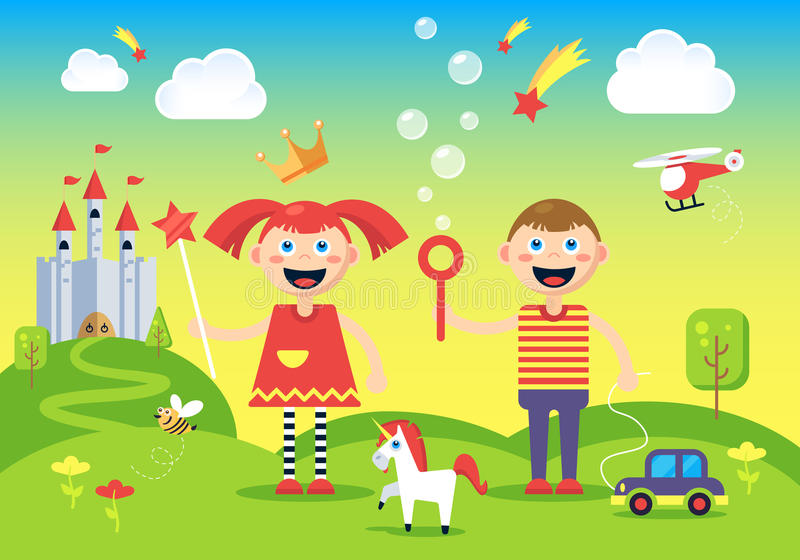 Het beeld van gelukkig, onbezorgd jongen en meisje royalty-vrije illustratie