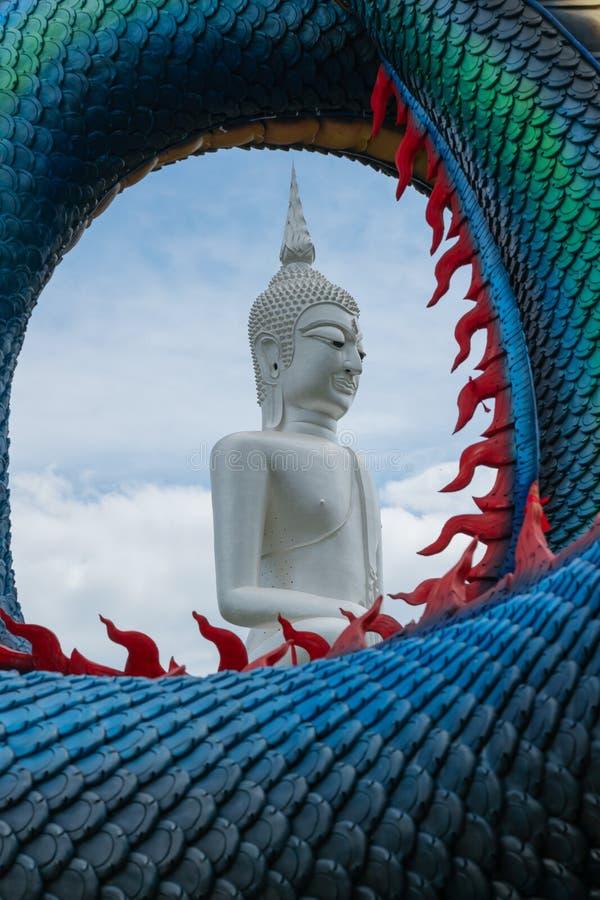 Het beeld van Grote witte Boeddha In de middelste cyclusruimte van Schalen van Dragon royalty-vrije stock afbeelding