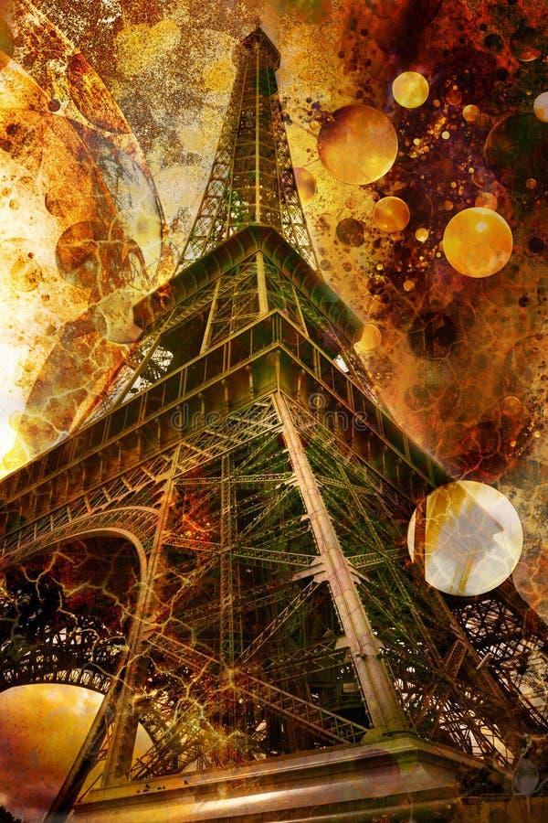 Het beeld van Grunge van de toren van Eiffel stock foto