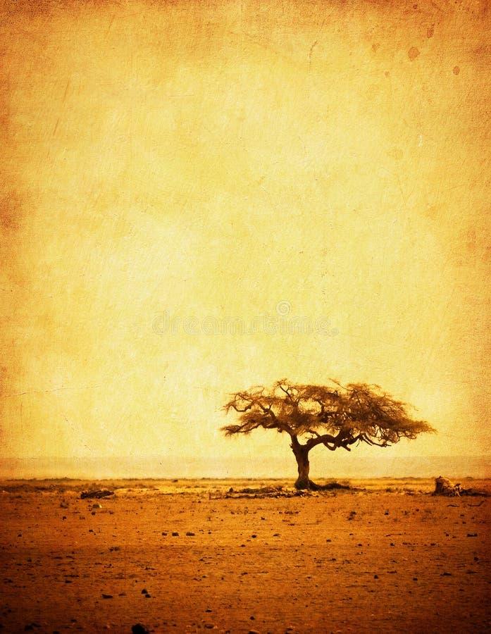Het beeld van Grunge van een boom op een uitstekend document royalty-vrije stock afbeeldingen