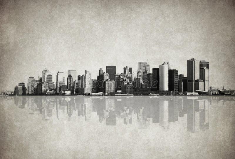 Het beeld van Grunge van New York horizon