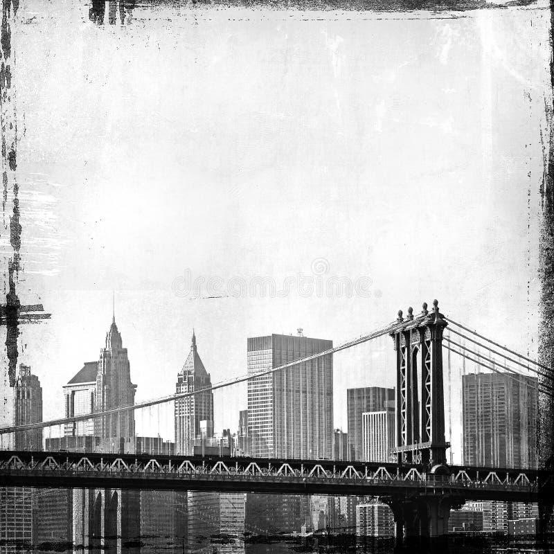 Het beeld van Grunge van New York horizon vector illustratie