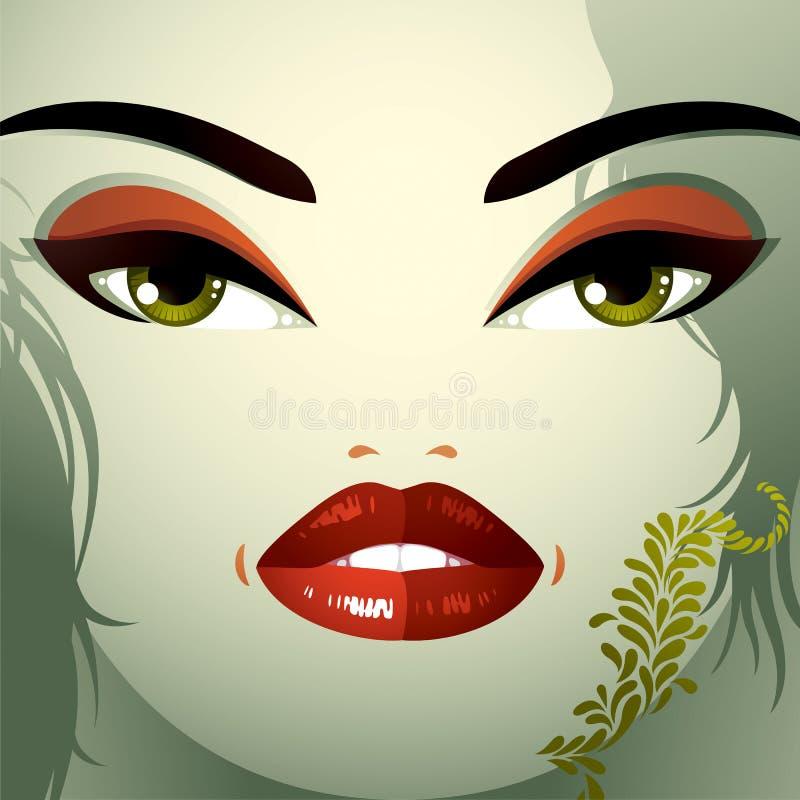 Het beeld van het de kosmetiekthema Jonge mooie dame met modieus haar royalty-vrije illustratie