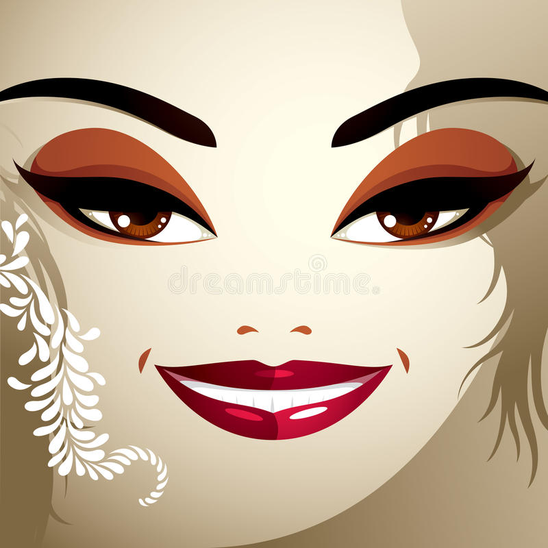 Het beeld van het de kosmetiekthema Jonge mooie dame met modieus haar vector illustratie