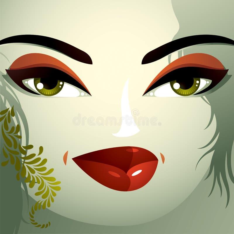 Het beeld van het de kosmetiekthema Jonge mooie dame met modieus haar stock illustratie