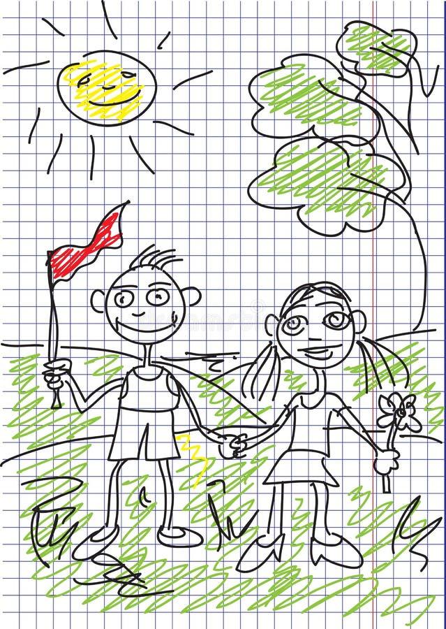 Download Het Beeld Van Het Kind Is In Een Notitieboekje. Vector. Vector Illustratie - Illustratie bestaande uit boom, jongen: 10782256