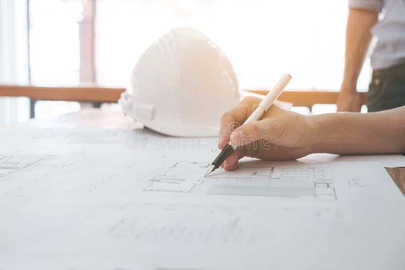 Het beeld van ingenieur of architecturaal project, sluit omhoog van Architec royalty-vrije stock foto's