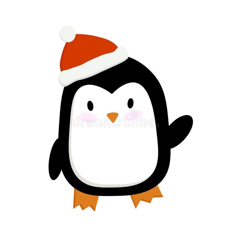 Het beeld van het Kerstmisbeeldverhaal vectorillustratie van een pinguïn in een nieuw jaar GLB stock illustratie