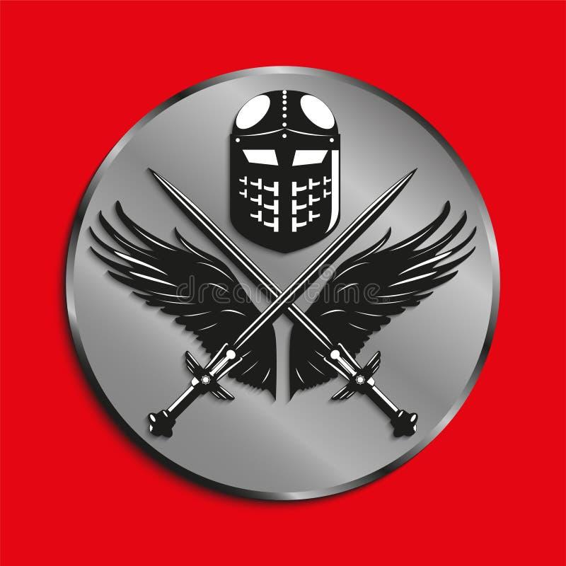 Het beeld van medailles met vleugels van een vogel, twee kruiste zwaarden en slaghelm Vector illustratie royalty-vrije illustratie