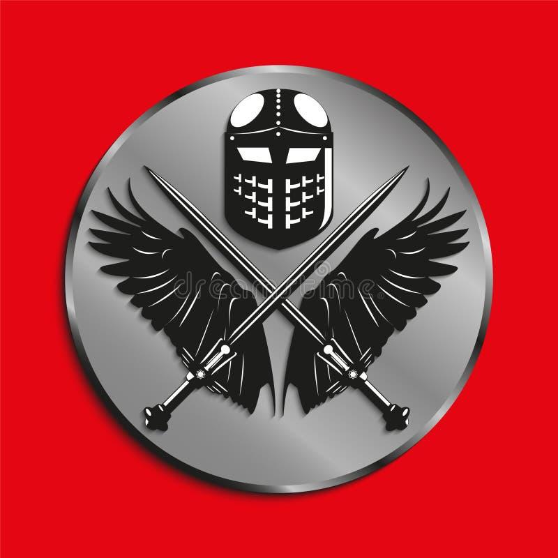 Het beeld van medailles met vleugels van een vogel, twee kruiste zwaarden en slaghelm Vector illustratie vector illustratie