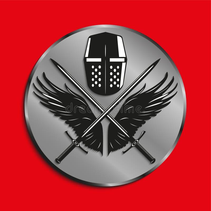 Het beeld van medailles met vleugels van een vogel, twee kruiste zwaarden en slaghelm Vector illustratie stock illustratie
