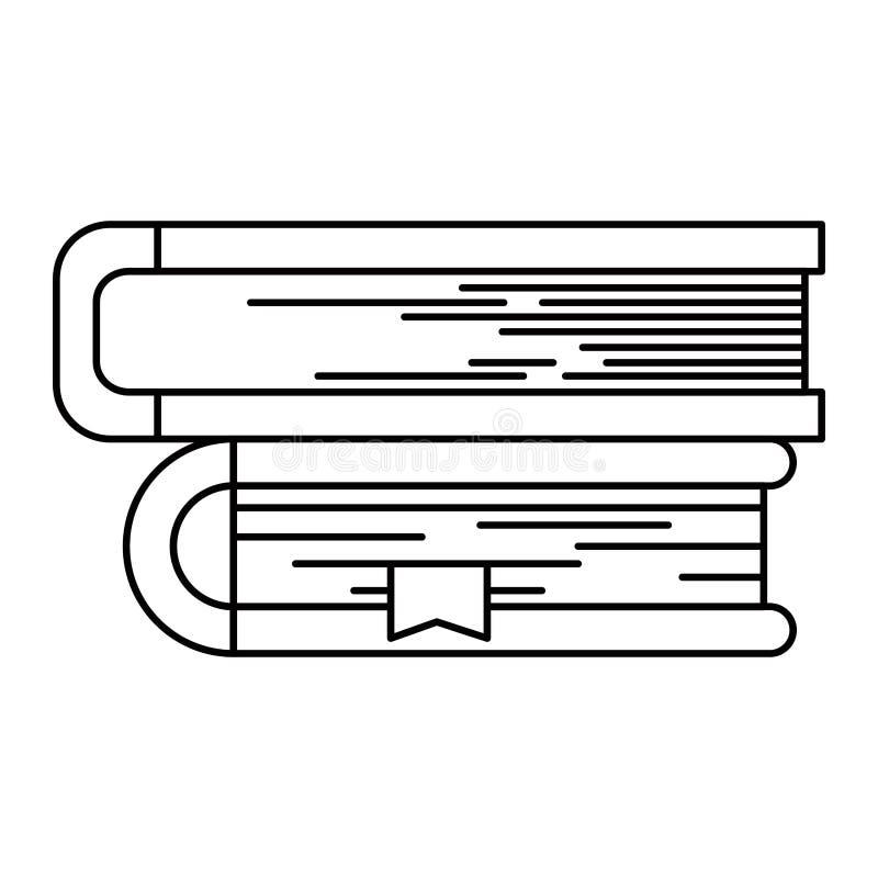 Het beeld van het schetssilhouet van inzameling van boeken met referentie royalty-vrije illustratie