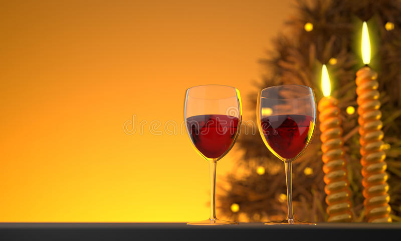 Het Beeld van twee Glazen CG van de Wijn royalty-vrije stock foto's