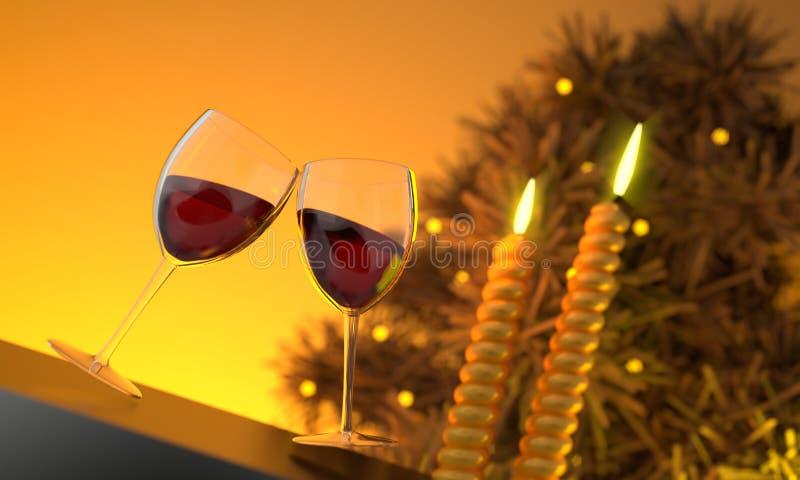 Het Beeld van twee Glazen CG van de Wijn stock afbeeldingen