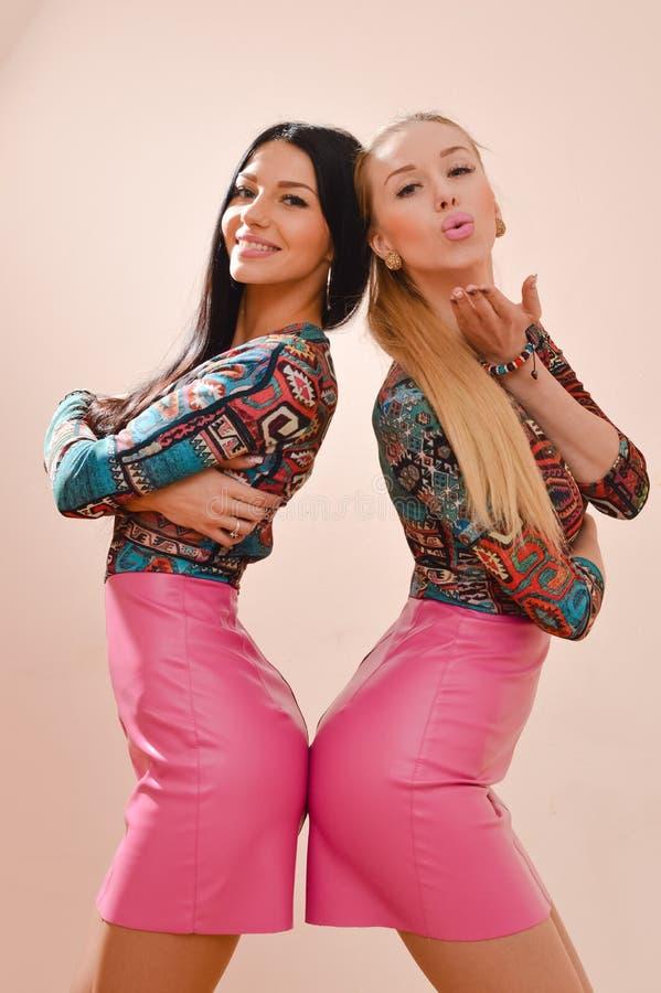 Het beeld van 2 zusters schitterend gelukkig glimlachend blonde en donkerbruine sexy jonge vrouwen die pret zich samen in leerroz royalty-vrije stock afbeelding
