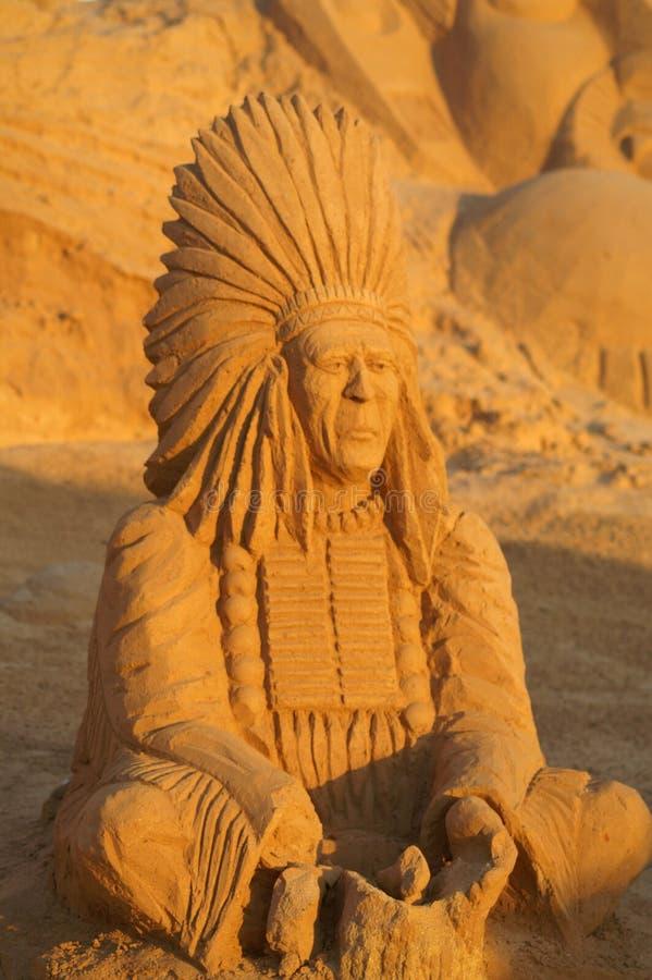 Het beeldhouwwerk Indiër van het zand royalty-vrije stock afbeelding