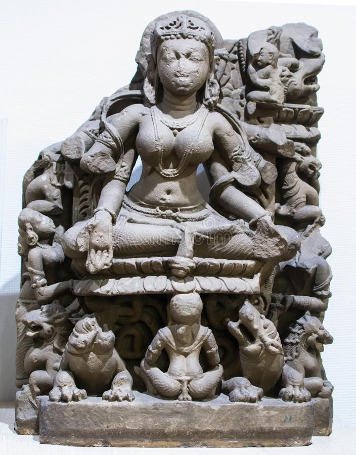 Het Beeldhouwwerk India van de Gangasteen stock afbeeldingen