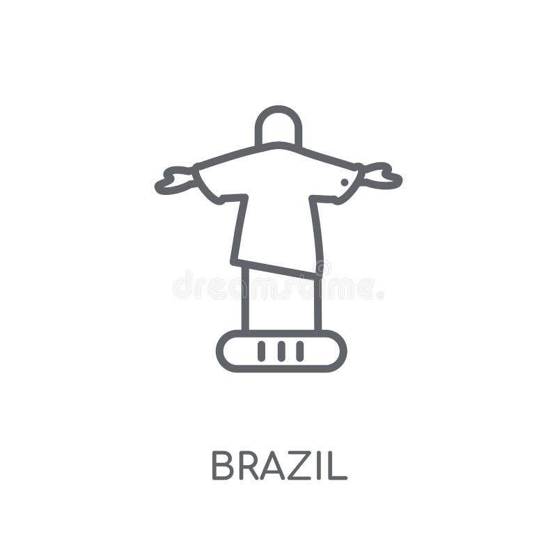 Het beeldhouwwerk van Brazilië van Christus het Verlosser lineaire pictogram Moderne outl royalty-vrije illustratie