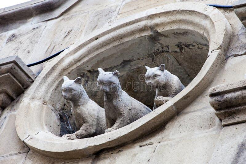 Het beeldhouwwerk van de kattenvoorgevel royalty-vrije stock afbeeldingen