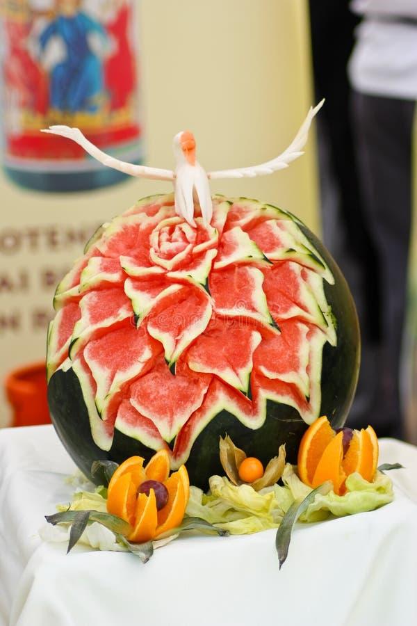 Het beeldhouwwerk van de watermeloen royalty-vrije stock afbeelding