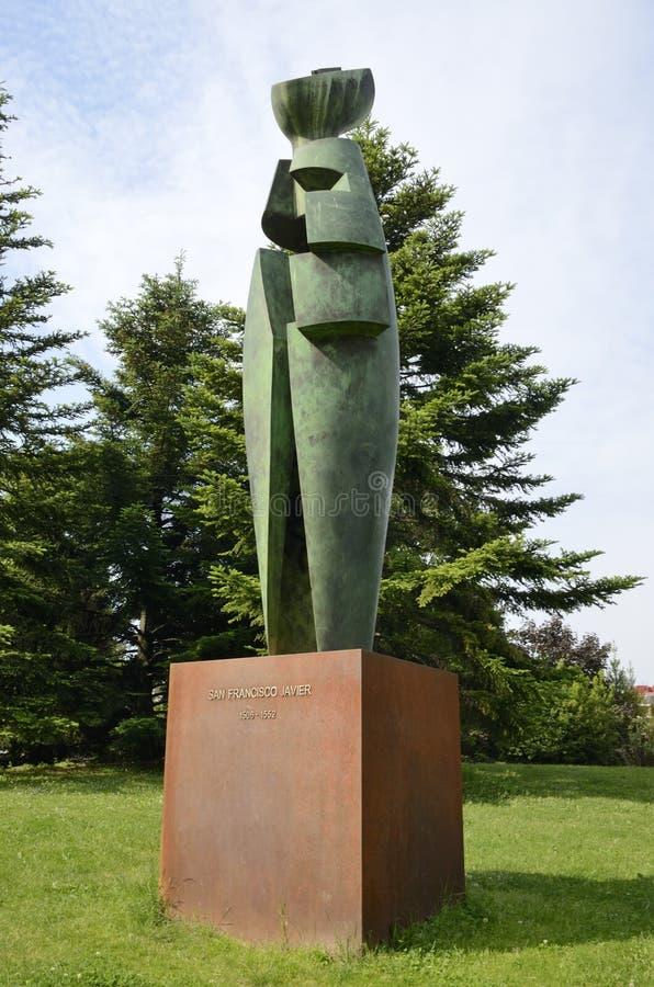 Het beeldhouwwerk van heilige Francis Xavier in Pamplona royalty-vrije stock afbeeldingen