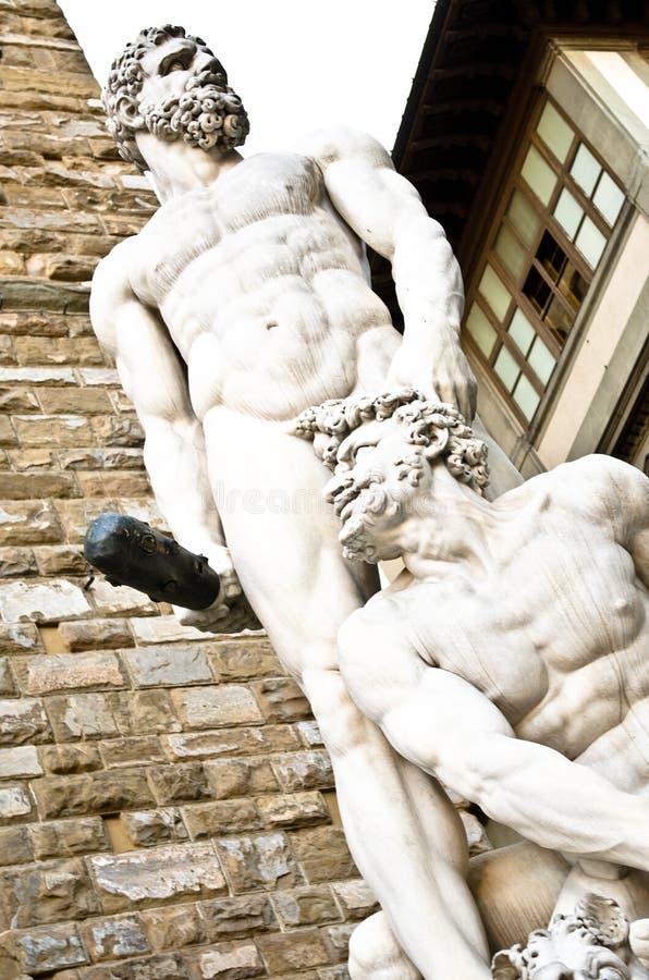 Het Beeldhouwwerk van hercules en Cacus-in Piazza della Signoria in Florence, Italië royalty-vrije stock afbeelding