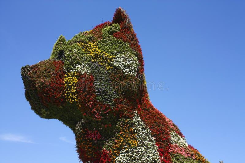 Het beeldhouwwerk van het puppy door Jeff Koons. Guggenheim Bilbao royalty-vrije stock foto