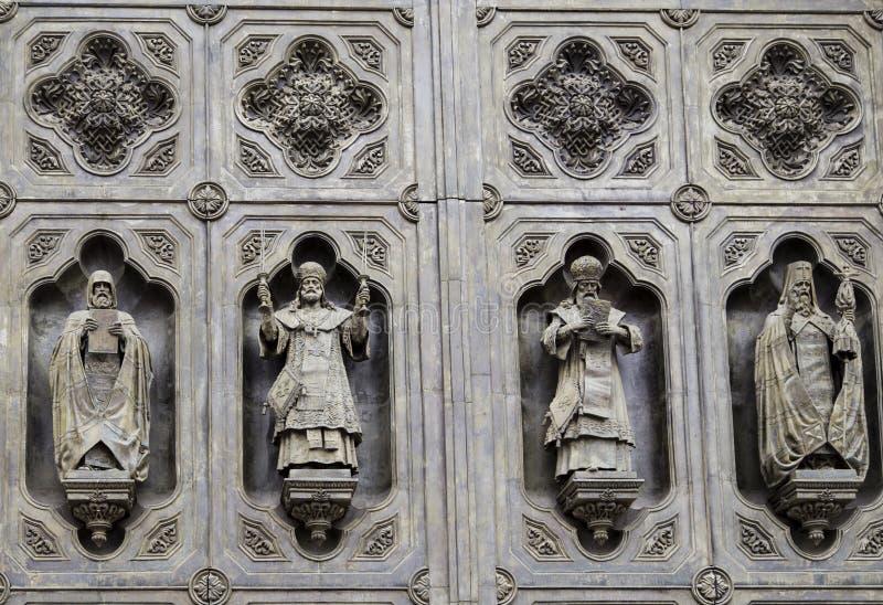 Het beeldhouwwerk van kathedraal van Christus de redder in Moskou royalty-vrije stock fotografie