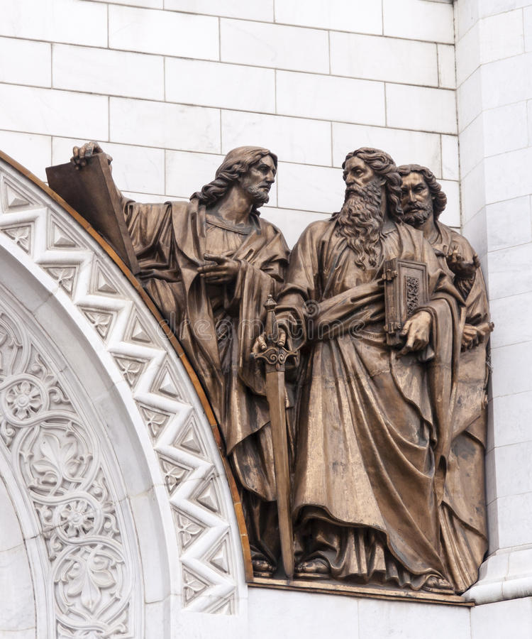 Het beeldhouwwerk van kathedraal van Christus de redder in Moskou stock foto
