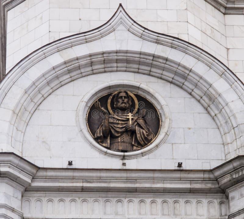 Het beeldhouwwerk van kathedraal van Christus de redder in Moskou stock foto's