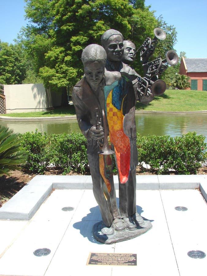 Het Beeldhouwwerk van New Orleans Buddy King Bolden Bronze Cast in Louis Armstrong Park stock foto