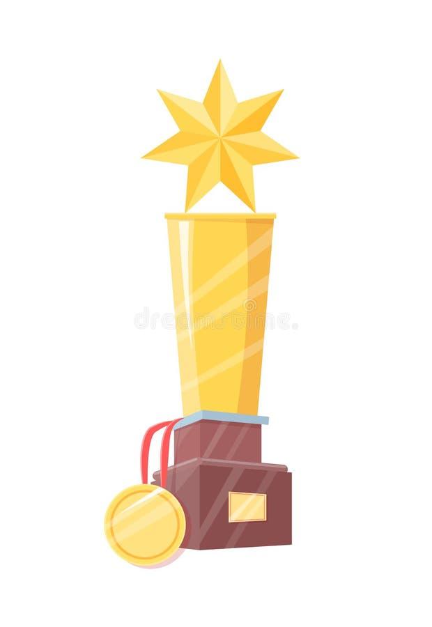Het Beeldje van de winnaarprijs met Ster en Geïsoleerde Medaille royalty-vrije illustratie