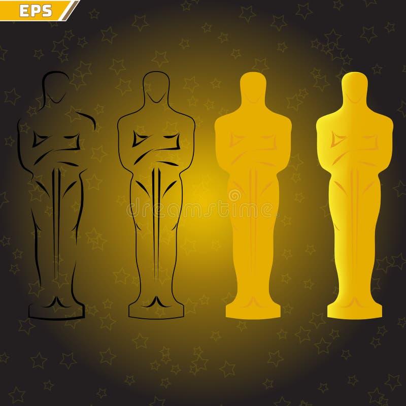 Het beeldje van Oscar voor actoren van de ceremonie de toekennende film en films in een vlakke stijl stock illustratie