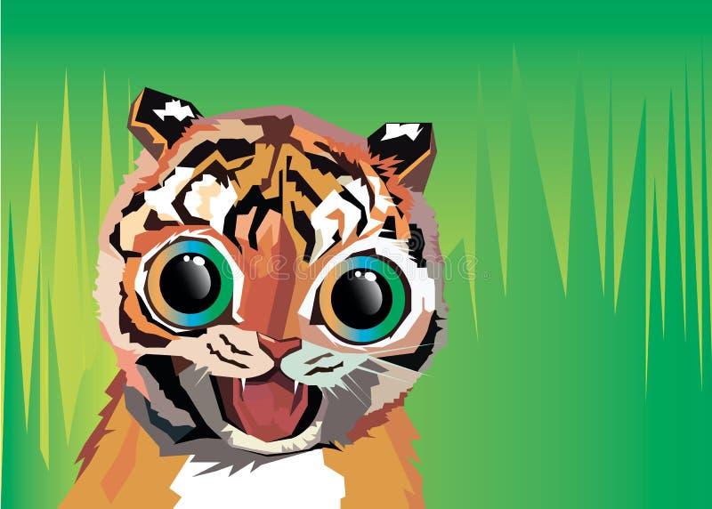 Het beeldverhaal dierlijke welp van de tijger vectorillustratie stock illustratie