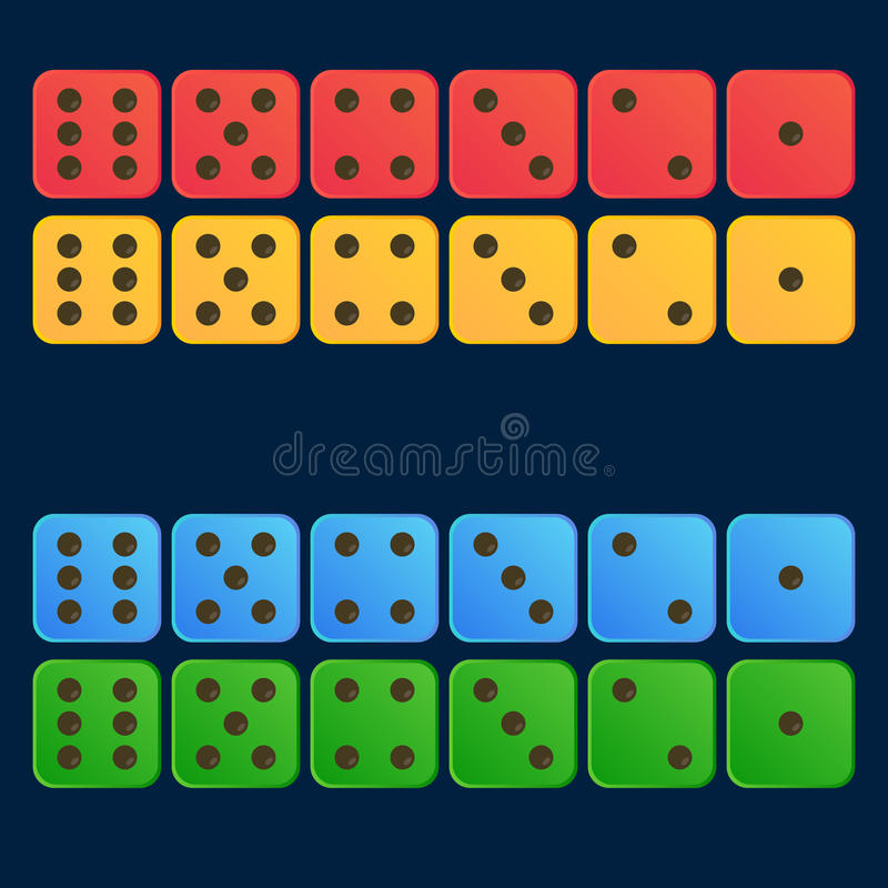 Het beeldverhaal dobbelt vlakke illustratie in vier kleuren vastgestelde Rood, geel, blauw, groen royalty-vrije illustratie