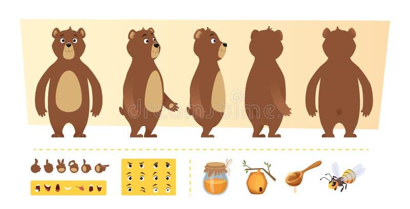 Het beeldverhaal draagt animatie De leuke wilde dierlijke lichaamsdelen en van aardpunten uitrusting van de het karakterverwezenl stock illustratie