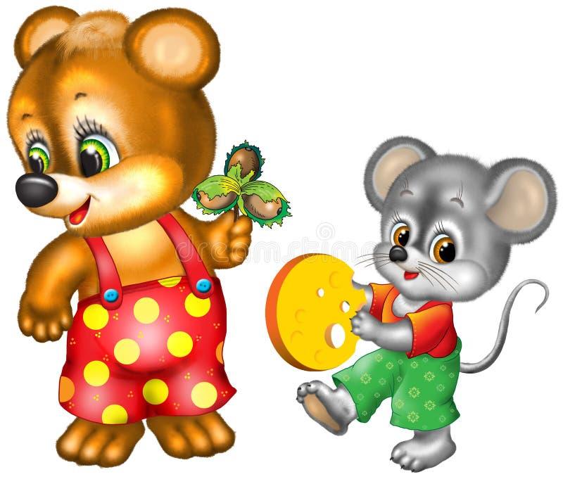 Het beeldverhaal draagt en muis stock illustratie