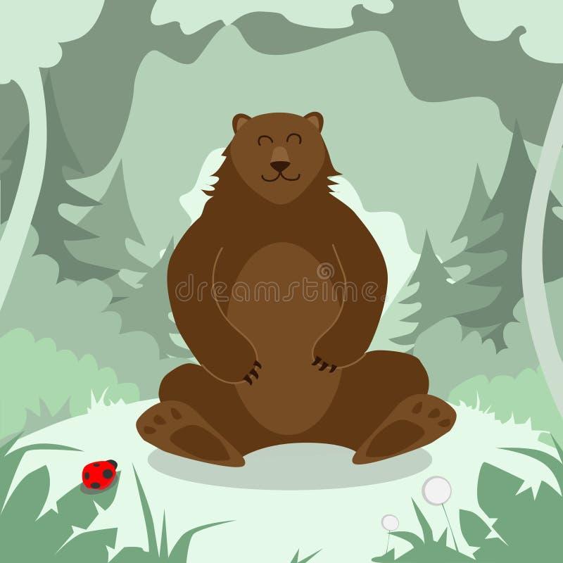 Het beeldverhaal draagt zittend Groen Forest Colorful stock illustratie