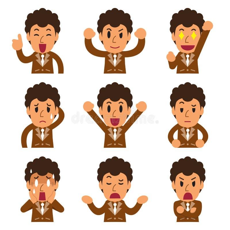 Het beeldverhaal een zakenman ziet het tonen van verschillende emoties onder ogen vector illustratie