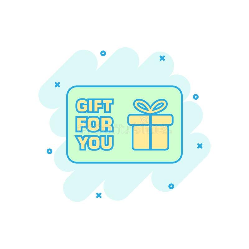 Het beeldverhaal gekleurde pictogram van de giftkaart in grappige stijl Giftbon pres stock illustratie