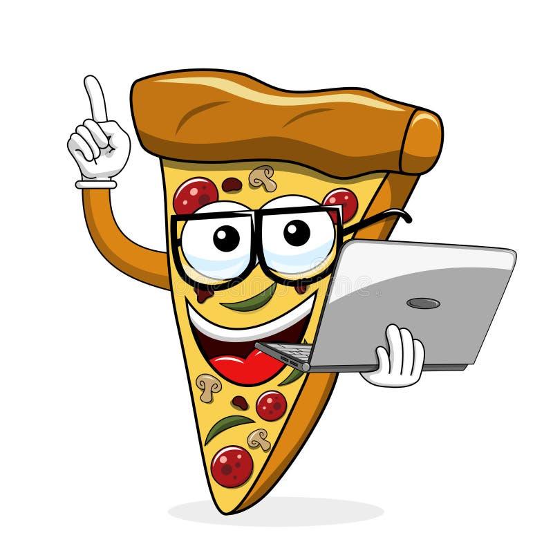 Het beeldverhaal grappige laptop van de pizzaplak geïsoleerde computer vector illustratie