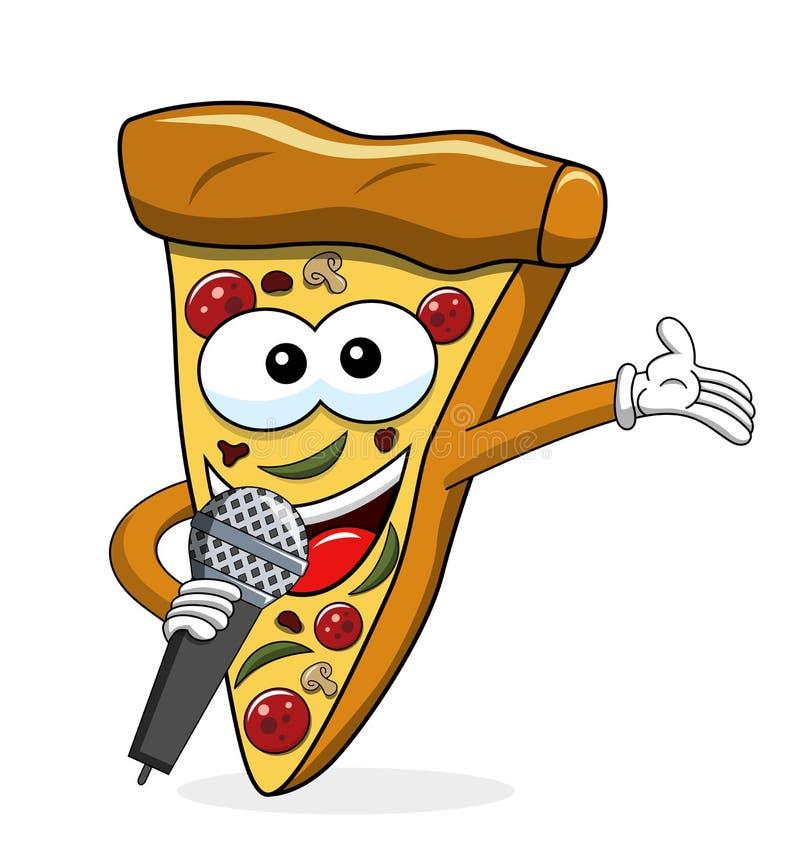 Het beeldverhaal het grappige microfoon van de pizzaplak voorstellen geïsoleerd op wit stock illustratie
