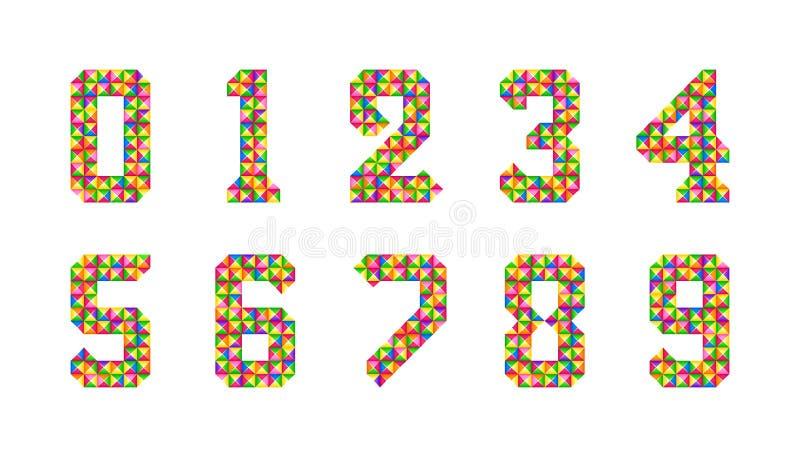 Het beeldverhaal isoleerde geplaatste tegelsaantallen Vectorreeks van 1-9 pictogrammen van de cijferbaby Kleurrijk cijferalfabet  royalty-vrije illustratie